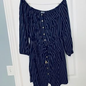 Navy Striped Off-the-Shoulder Dress